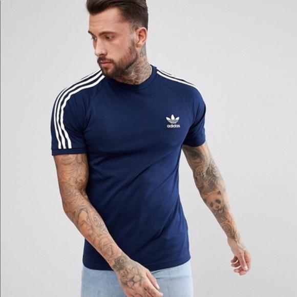 70a88828 adidas Shirts | Originals Cali 3 Stripe Tee Navy | Poshmark